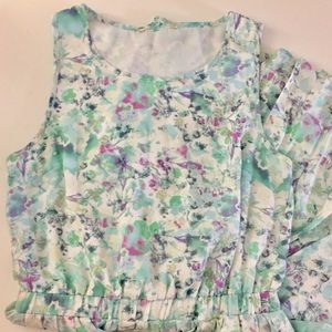 Dresses & Skirts - Floral Multicolored Dress with Pleated Skirt